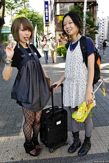 Sticking Out Tongue in Tokyo (tokyofashion) Tags: girls cute stockings fashion tongue japan umbrella fun japanese tokyo dress boots shibuya style polkadots peacesign stickingouttongue streetfashion wedges blackstockings