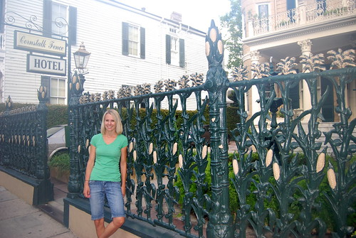 K in front of Cornstalk Fence