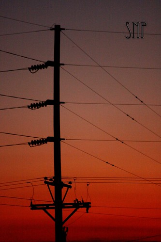 . sunset and powerlines .