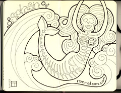 Misplaced mermaid (renmeleon) Tags: art moleskine pen ink dayofthedead skeleton sketch journal wave sketchbook diadelosmuertos splash mermaid ria journaling renmeleon skellie renfolio