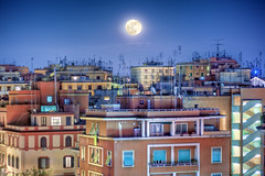 The Moon in Rome, Italy - HDR by night