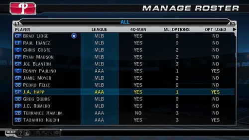 MLB 09 The Show screenshot - Manage Roster