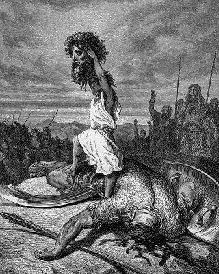 Rei David mata o gigante Golias