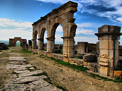 Volubilis-Roman Ruins-Morocco-Africa (mikemellinger) Tags: africa old architecture buildings landscape ruins scenery rocks arch northwest roman north morocco volubilis romanruins tonemapped