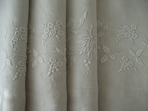 Vintage French bed linen - MM monogram by AnnAnyway.