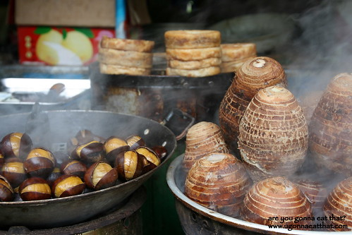 Chestnuts and taro, street stand, Yangshuo, China