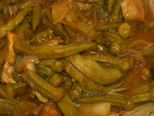 roast okra with onions