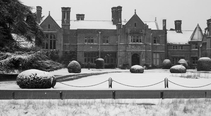 The Lodge in the snow in black + white