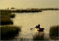 Amanhecendo no lago (se.shira) Tags: lake titicaca totora lago barco junco bolivia casal pesca amanhecer duetos frenteafrente