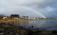 rainbows over the bay (sskelman) Tags: uk sky storm beach clouds river bay scotland rainbow fife estuary forth firth dalgetybay dalgety dalgetty goldstaraward
