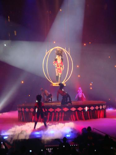 Britney's big entrance.