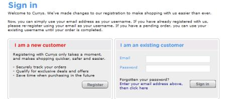 Currys registration