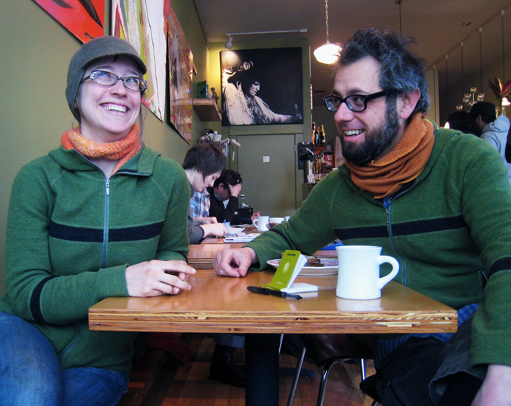 Thursdays with Elly: Random Order, 3/26. Bonus double green-sweater edition with matching scarves.