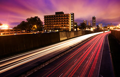 Good Morning (Fire Eater) (clay.wells) Tags: city pink blue light sky urban motion blur lines rock skyline night clouds canon buildings eos march spring interesting twilight long exposure downtown factory cityscape traffic streak little metro clayton trails overpass wells front explore hour page arkansas interstate 630 2009 leading metropolitan ef challenge 1740 the f4l supershot i 40d i630 3wcicon thechallengefactory yourock1st img4431st
