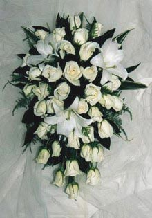 Teardrop rose and lily bouquet