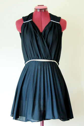 VINTAGE 70s black DISCO dress with diamontes S SHORT - 1