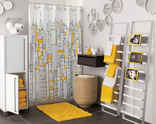 CB2 Yellow Bathroom Accents