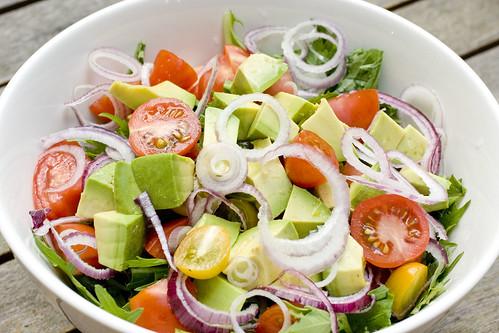 Mizuna Tomato Avocado Salad 4