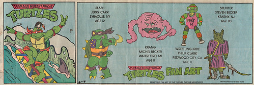 Teenage Mutant Ninja Turtles { newspaper strip } Mike hang-10 ..art by BERGER - isolated :: 06071992