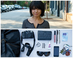 Erika Diptych (J Trav) Tags: camera portrait sunglasses keys persona interesting nikon diptych wallet purse whatsinyourbag pens iphone eyedrops barrets hairties d40 facecleanser theitemswecarry