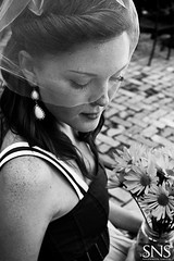 Daisies in a Jar ({SNS Photography}) Tags: flowers wedding blackandwhite woman white black brick classic girl beautiful daisies canon vintage bride engagement veil jar jamjar 50d esession orlandophotography birdcageveil snsphotography