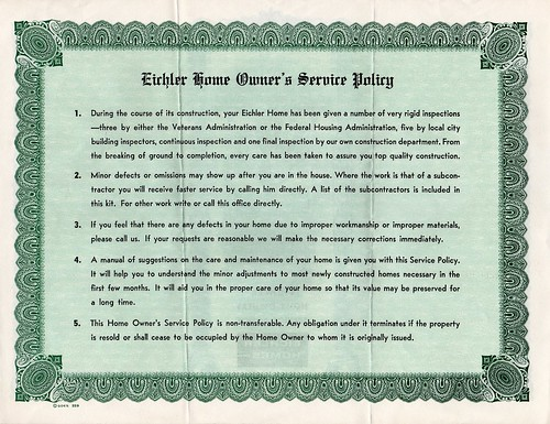 Eichler Home Owner's Service Policy (back) by atomicpear