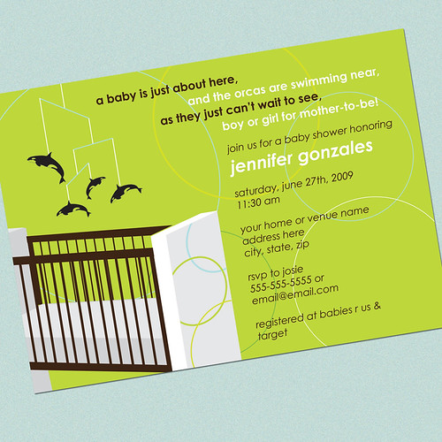 MODERN CRIB AND ORCAS Baby Shower Invitation Photo Card
