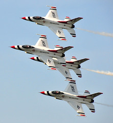 thunderbirds (S Alex Maier) Tags: show blue ohio sky lake flying airport day fighter force martin labor smoke air cleveland jets jet performance aerial formation demonstration f16 trail precision erie thunderbirds gforce combat lockheed usaf thunderbird burke pilot pilots lakefront aerobatic platinumheartaward thesuperbmasterpiece newgoldenseal