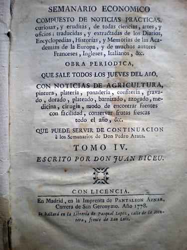 008--Semanario económico compuesto de noticias practicas curiosas y eruditas…1778-Juan Biceu