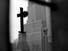 I Remember... (rachel_titiriga) Tags: nyc newyorkcity blackandwhite bw usa ny newyork monochrome america remember cross flag 911 monochromatic twintowers september11 neverforget september11th iremember albnegru albsinegru racheltitiriga