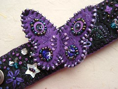 Butterfly Bracelet (Joey's Dream Garden) Tags: uk black butterfly insect beads pretty purple handmade embroidery buttons sewing craft felt velvet sparkle fabric cotton bracelet sequins joeysdreamgarden