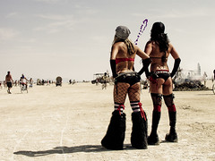 Burning Man 2009 (mdanys) Tags: ladies people usa man lady weird boots nevada tights osama burningman burning exotic buns bm unusual relaxed bun extravagant dagys avanguard