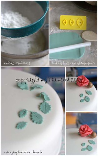 royal icing, leaves, and arranging decorations