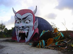 The demolition of Dante's Inferno at Miracle Strip Amusement Park, Panama City Beach, Florida (stevesobczuk) Tags: abandoned ruins riviera florida dante demolition vacant inferno devil redneck panamacitybeach miraclestripamusementpark