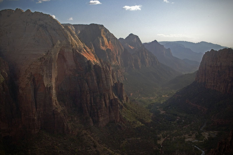 View atop Angels Landing down the valley back towards the town of Springdale.  Angels Landing... my second favorite hike in Zion.