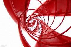 spiral (totomai) Tags: red abstract architecture spiral taiwan lookingup fisheye kaohsiung blogged 2010 scultupre bigmomma cy2 challengeyouwinner nikond80 lpangle