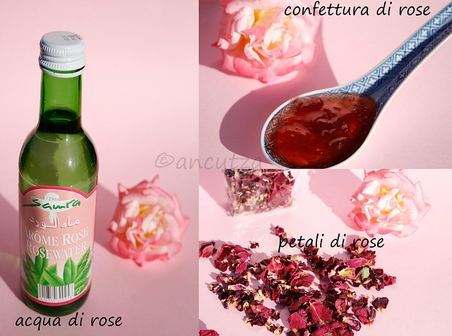foto ingredienti a base di rose: acqua di rose e confettura di rose