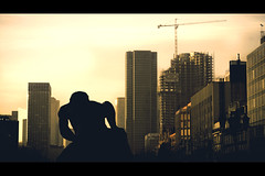 August 29th, 1997 (- Loomax -) Tags: city sunset urban statue skyline buildings construction crane spiderman nightmare burningsky cinematic tamron 169 ladfense terminator2 warmcolors