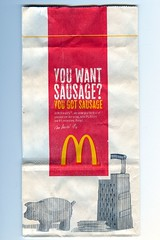 You Want Sausage? (atomicshakespeares) Tags: breakfast bag advertising marketing sausage mcdonalds slogan sexualinnuendo sausagemcmuffin