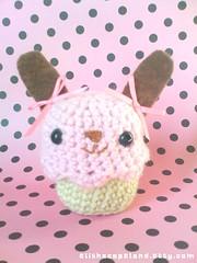 Choco Strawberry Bunny Cupcake Amigurumi 2 (xelishacopeland) Tags: pink brown rabbit bunny dessert strawberry sweet handmade chocolate crochet cupcake kawaii pastry sweets etsy amigurumi crocheted bows