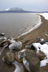 Frozen Shore (.mushi_king) Tags: winter lake snow cold japan frozen hokkaido north ko nippon zan shikotsu tarumae puppushi
