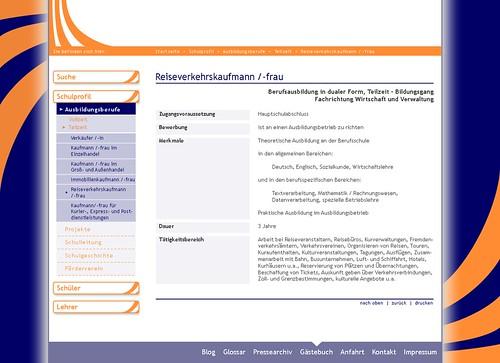 Inhaltsseite Berufe - Designentwurf Schulwebseite Dreyhauptschule Halle