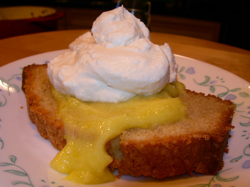 Brown Sugar Pound Cake with Key Lime Curd and Honey Whipped Cream