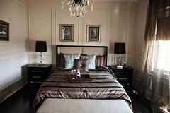 elegant bedroom. (< brian >) Tags: window lamp design bed bedroom interior naturallight handheld elegant modelhome sidetable canon40d