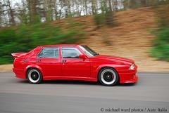Alfa Romeo GTV6 + 75 3500cc (michaelward_autoitalia) Tags: auto red moving italian italia alfa romeo gtv 75 35 alfaromeo rolling tracking v6 emc mwp longcross autoitalia michaelwardphotos cartocar car2car emcracing