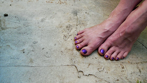 Purple Toes on Pavement