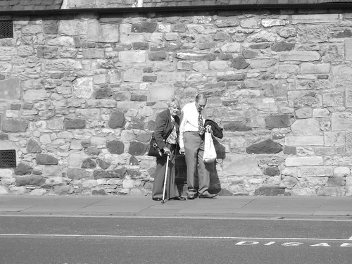 still life with wee old couple and wall