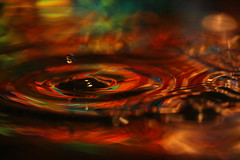 Water drop art - Aurora borealis in a bowl (Mukumbura) Tags: macro water reflections drops multicoloured auroraborealis birthdayballoon waterdropmacro canonef100mmf28macrousm the4elements