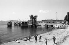 Ferry Terminal (doglock75) Tags: ocean bw dock maine d76 minoltasrt101 kodakplusx peaksisland