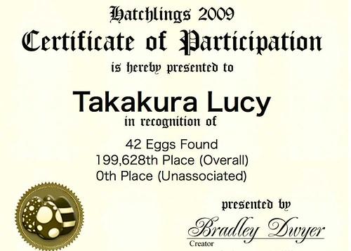 Hatchlings Certificate